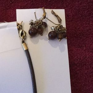 Lia Sophia Jewelry - Lia Sophia Necklace & Earring set, brown/gold